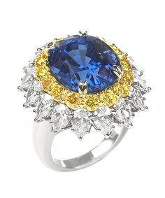 Harry Winston Vintage Diamond and Sapphire Ring