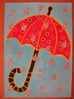 Deštník - malba, koláž z tiskovin :: M o j e v ý t v a r k a