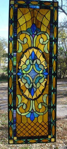 """Quilted Victorian stained glass sidelight window panel 12 5/16""""W x 36 3/16""""L"""