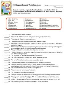 Printables Cells And Their Organelles Worksheet Answers cell organelle worksheet 7th grade life science pinterest this is a on organelles and their functions there are 45 questions set up in matching format all deal wit