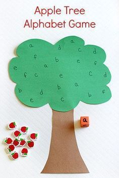 This apple tree alphabet game is a great way to practice letter identification while developing fine motor skills. It is perfect for a preschool apple theme! #preschool #letteractivities #letterrecognition #kindergarten