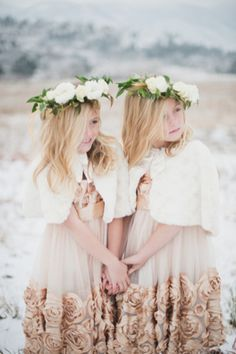 Flower girls in floral crowns | Bellamint Photography | http://burnettsboards.com/2014/01/royalty-themed-wedding/