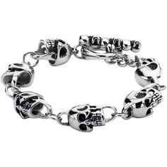 Stainless Steel Skull Link Bracelet (One Size) (7.085 RUB) ❤ liked on Polyvore featuring jewelry, bracelets, skull jewellery, stainless steel jewelry, stainless steel bangles, skull bangle and skull jewelry