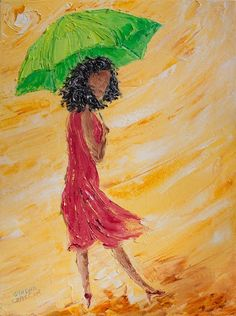 """16""""x12"""" (41cm x 30cm), """"Sunshiny Day"""" Palette Knife Painting by Colors Of Cynthia Christine. My daughter, Sunshine, inspired the original version which is hanging on her wall. Sunshine takes great care to cover up from the sun's damaging effects...with such ELEGANCE! I love her style! At times she wears """"driving gloves"""", long up to the elbow bright shiny colored evening gloves and always carries a large elegant hat for when she steps out."""