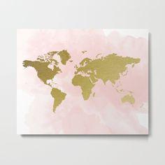 Gold World Map Poster Metal Print