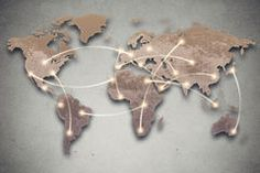 World map and connection lines. Social media, network Stock Photography