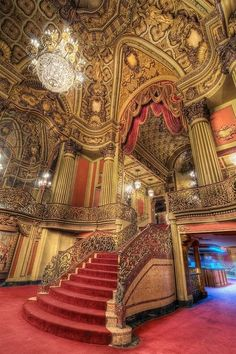 Sophisticated Stairs : Los Angeles Theater lobby located in downtown L. in the lobby of the Los Angeles Theater. Beautiful Architecture, Beautiful Buildings, Art And Architecture, Architecture Details, Beautiful Places, Theatre Architecture, Beautiful Stairs, Beautiful Pictures, Old Buildings