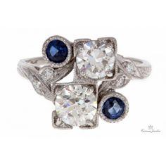 Art Deco Platinum Sapphire And Diamond Ring.