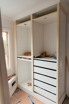 Jaw-dropping transformation of IKEA PAX into a walk-in closetYou can find Pax wardrobe and more on our website.Jaw-dropping transformation of IKEA PAX into a walk-in closet Walk In Closet Ikea, Ikea Closet Hack, Ikea Pax Wardrobe, Closet Built Ins, Closet Hacks, Build A Closet, Closet Organization, Closet Ideas, Open Closets