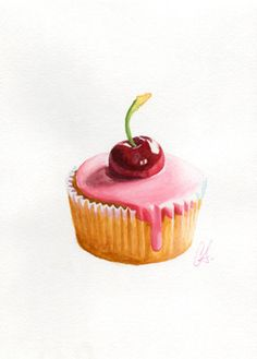 With a Cherry on Top Cupcake watercolor....impressive