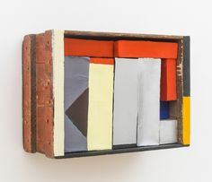 Nancy Shaver  Red, Yellow, Blue Boxes in a Box, 2015 wooden box, cardboard boxes, paper, flashe acrylic, housepaint  12.5 x 17.25 x 7.25 inches