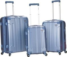 Rockland Luggage Sonic 3 Piece Hardside Spinner Set Blue - via eBags.com!