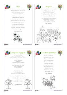 12 poésies illustrées sur le thème du printemps, pour les élèves de cycle 2 et de cycle 3.