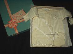 Vintage Boxed Baby Sweater Bootie Set Original Box 1940 1950 - The Gatherings Antique Vintage