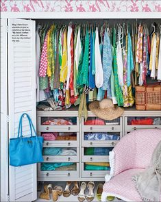 "Meg Braff - WOW! Proof that you don't need a ""walk in closet"" to make use of good space and be organized and have lots of clothes and accessories! Where do I find those drawers?!?"