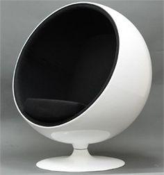 Kaddur Chair. Retro lounge chair resembles a space-age pod. Fiberglass shell and plush interior.