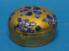 ANTIQUE CHAMART LIMOGES GILT & BLUE TRINKET BOX ~ 2.25""