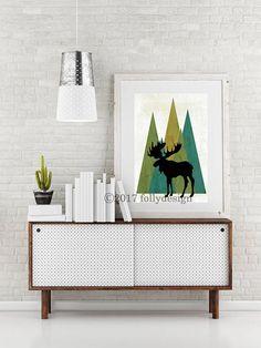 Artist Shanni Welsh's Woodland Moose art print. Moose poster. Moose home décor. Moose wall art. Lodge décor. Camping art. Gift for camper. Outdoor art.