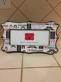 barber cosmetology license frame mustache by familiarfacesframes
