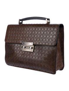 Salvatore Ferragamo Gancini Embossed Leather Satchel - Handbags - SAL52842 | The RealReal