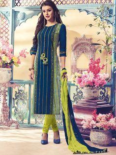 Printed Resham Work Churidar Suit by Shagufta.... #rajwadi #readytowear #suit #shagufta #partywear #churidarsuitonline #designersuits #casualwear