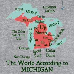 The world according to Michigan shirt at www.downwithdetroit.com #Michigan