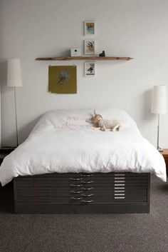 flat file bed frame//styling over the bed