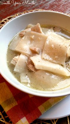 Nanny's Chicken and Dumplings... scratch-made dumplings (with variations for thin pastry-like noodles or thicker doughy dumplings) with a slow cooked chicken stock with easy-to-follow instructions. Just like Nanny made!