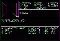 That's the WIzardry 3 GUI. I still prefer the original one, I like to see all relevant information without switching modes or missing the bottom part of the dungeon, and it's not like seeing fullscreen wireframe graphics is much more immersive. Apple Iie, Proving Grounds, Retro Typewriter, School Computers, Wireframe, Gaming Computer, Maze, Pixel Art, Spelling
