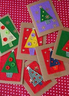 Karten basteln mit Kindern: Einfache Formen aus Papier, Stoff oder Filz mit Knöpfen, Sternen oder Schneeflocken (ohne Anleitung)
