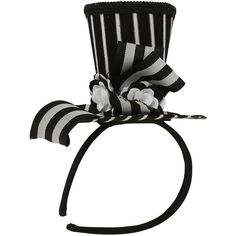 LOVEsick Mini Striped Top Hat Headband Hot Topic ($15) ❤ liked on Polyvore featuring accessories and hot topic