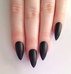 Matte Black Stiletto Nails <3