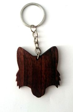 Wooden Fox Head Keychain Walnut Wood Animal Keychain от PongiWorks