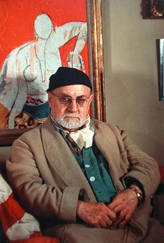 Henri Matisse Photographed by Gisele Freund Paris, 1948   He looks happy to have his photo taken. Not.