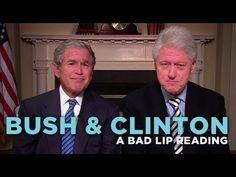 """Bush & Clinton"" — A Bad Lip Reading Soundbite. Bad Lip Reading-These are so funny! Stupid Funny, Hilarious, Funny Stuff, Random Stuff, Funny Comedy, Im Bored, Make Me Smile, I Laughed, Laughter"