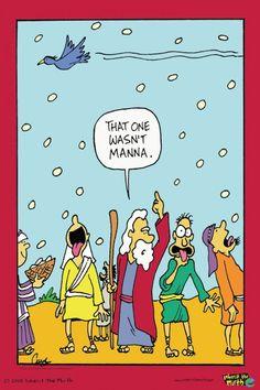 Christian Biblical Fun Humour Cartoon Comics. Inherit The Mirth.