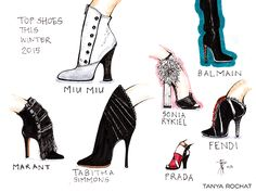 Top Trends in shoes this season by Tanya Rochat.