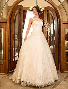 Really like this one but without the poofy hoop  under it. Also, the color isn't bad but would have to be ivory.  A-line Princess One Shoulder Sweep/Brush Train Tulle And Lac... – USD $ 176.99