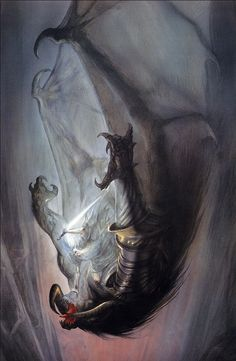 """coolmonster: "" Gandalf fighting the Balrog by John Howe. A classic illustration of the biggest badass monster of Tolkien's Wolrd. Alan Lee, Jrr Tolkien, Demon Dragon, Dragon Fight, John Howe, Illustration Fantasy, Dragons, O Hobbit, Hobbit Art"