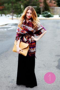 Bohemian Street Style Inspiration: Navajo Blanket Wrap Jacket + Black Maxi Skirt Winter Look #johnnywas