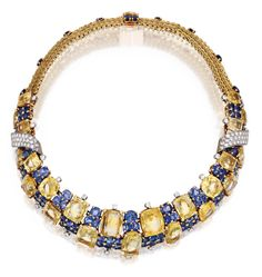 It is not very often that one come across pieces set in the unusual combination of blue and yellow sapphires, yet three have appeared in the space of a few days. The necklace above will be auctioned by Christies NY on October 15th and it is a phenomenal piece made by Cartier in 1957 combining cushion cut blue sapphires and rectangular cut yellow sapphires set in a fringe diamond necklace.