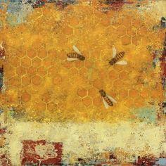 "Paul Brigham, ""Honeybees #7"", Mixed Media, 30x30"