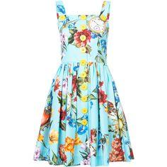 Dolce & Gabbana floral print flared dress (20.596.625 IDR) ❤ liked on Polyvore featuring dresses, blue, skater skirt, short blue dress, blue fit-and-flare dresses, floral skater skirt and summer dresses