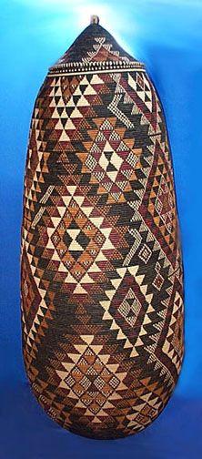 Tall Zulu basket from..Zanzibar Tribal Art....