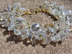 SILVER and GOLD SPARKLE  Clear Crystal Color Study Charm Bracelet ooak