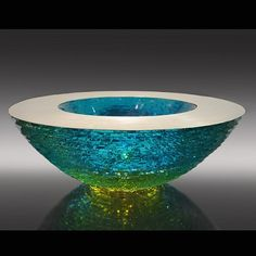 Matthew Curtis - Constructed Aqua and Amber Oval Bowl - Pismo Fine Art Glass