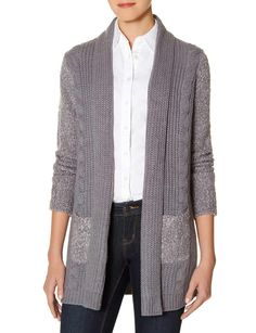 Marled Drape Front Cardigan in Grey - You can't get cozier than this super soft knit with snuggly cable patterning and marled coloring!