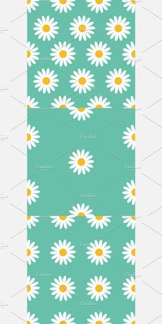 Green Backgrounds, Baby Design, Flat Design, Daisy, Concept, Illustration, Flowers, Plants, Pattern