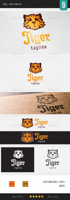 An excellent logo template highly suitable for your business identity. CMYK Fully Editable EPS , AI Easy to Change Color and Logo Design Template, Logo Templates, Cat Company, Tiger Logo, Creative Icon, Animal Logo, Icon Design, Identity, Presentation