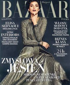 The cover of Harper's BAZAAR Poland featuring Elisa Sednaoui in a gold pleated dress with bow. • Harper's BAZAAR, Poland - November 2014